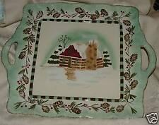 "2008 JAY Winter Lodge Square 17"" Platter Cabin Snow Pinecones Xmas Christmas"