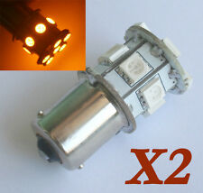 2 Light Bulb Lamp 1156 BAU15S 12V 13 5050 SMD LED Amber