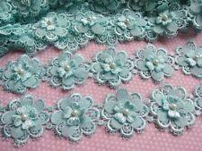 """2y Flower Lace Edge 2"""" Trim Ribbon Wedding Applique DIY Sewing Crafts-Mint"""