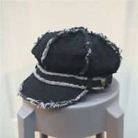 Lady Denim Beret Hat Gatsby Newsboy Octagonal Cap Baker Boy Retro Casual Solid
