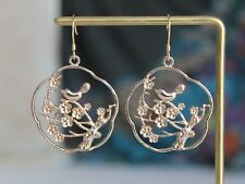 Gold plated Cut out Tree Branch Bird earrings Bohemian jewellery Gift for her
