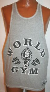 Vintage WORLD GYM Gorilla Gray Tank Top T-SHIRT Size Large Muscle Weightlifting