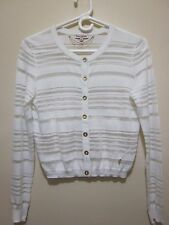 JUICY COUTURE White silver & Gold  metallic shimmer Button CARDIGAN Sweater XS