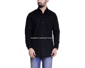 Hommes Manche Longue Noir Uni Col Bouton Manche 100% Coton Indien S-XL