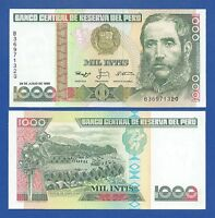 PERU -- 1000 INTIS ( 28.6.1988 ) -- UNC -- PICK 136b .