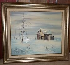 Old Red Barn Farm Pasture Oil Painting Canvas Framed 20 x 24 Winter Snow White