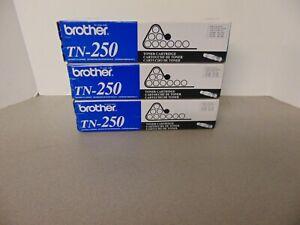 3x Genuine Brother TN-250 Black Toner Laser Printer Cartridge in Box Sealed