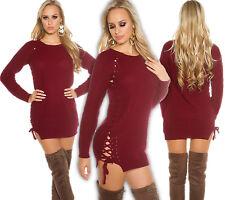 KOUCLA Punto Grueso Suéter Largo Cordón Vestido de MINIVESTIDO Jersey Rojo