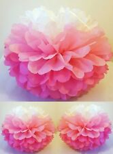 7 x ombre pink tissue paper pompoms hanging wedding party birthday decorations