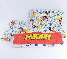 Mickey Mouse Twin Sheet Pillow Case Set Stars Dots Walt Disney Brushed Cotton