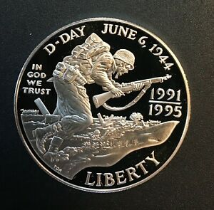 United States - Silver 1 Dollar Coin - 'World War II' - 1995 - Proof