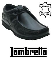 Mens Lambretta Leather Wallabee Lace Up Black Moccasin Style Gents Casual shoes