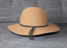 Olive & Pique Brown Wool Floppy Brim Western Boho Bohemian Summer Festival Hat