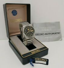 Vintage 1990 Seiko 5 Automatic 7009 3130 Gents Day Date Wrist Watch Box & Papers