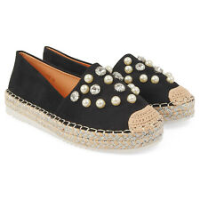Ladies Suede Espadrilles with Diamante & Pearl Details New Summer Styles! UK 3-8