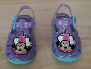 Girl's Jelly First Walke Shoes Purple  Sparkle Minni Mouse Toddler Infant size 4