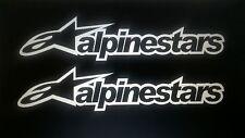 Alpinestars stickers x2 Rally Race Motocross Karting 28 cm de Large 6 cm de hauteur blanc