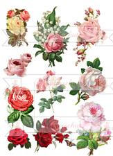 10 Rosen auf A 4 Shabby-chic Möbeltattoo Wasserschiebefolie Decalfolie Laser