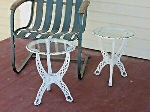 Matched Pair of Cast Iron Tables Re-Purposed Hot Water Heater Stands wGlass Tops