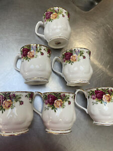 Vintage Royal Albert Old Country Roses Bone China England Set 6 Coffee Cups