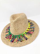 Marcus Adler Rainbow Pom Straw Hat Boho Chic Beach Vibes