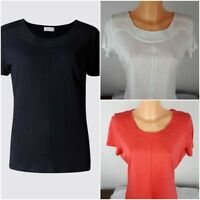 Ex M&S Per Una Ladies Broderie Neck T shirt Modal Cotton Blend Size 6-20
