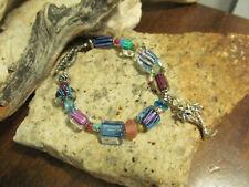 925 Sterling David Christensen cane furnace glass bead Palm Tree Charm Bracelet
