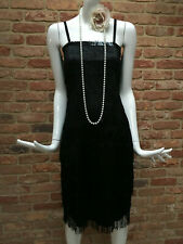 Wicked Costumes Black Flapper 1920s Gatsby Tassle Fringe Mini Dress Size S
