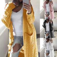 Para Mujer Chaqueta Suéter de punto grueso Bolsillo Frontal Abierto Abrigo Largo Chaqueta Abrigo Prendas para el torso