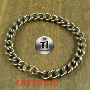 Totally Pure Titanium Ti 9.3mm width anti allergy Bracelet curb chain H713