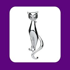 More details for sterling silver cat brooch 925 hallmark brand new boxed gift