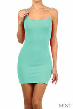 Mint  Long Cami Stretch Spaghetti Strap Tank TOP Bodycon Tunic Mini Dress 6-8