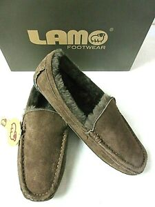 Lamo Mens Suede Boston Slip on Loafer Driving Moc Chocolate Brown NEW CM1244