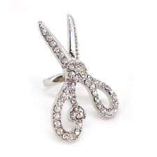 Unique Big Scissors Use Austria Crystal 18K White Gold-Plated Adjustable Ring
