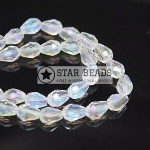 FACETED TEARDROP CRYSTAL GLASS BEADS CLEAR AB - 5X7 8X11 10X15 12X18MM