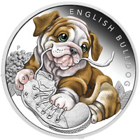 2018 Puppies - ENGLISH BULLDOG Tuvalu 1/2 oz Silver Proof 50c Half Dollar Coin