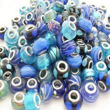 BULK x10 Mixed Basically Blue Lampwork Glass Beads fit European Charm Bracelet