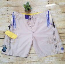 Quiksilver Mens Board Shorts Tan Purple Swimming Boating Size 36