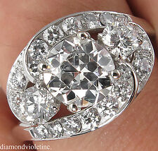 GIA 2.60CT ESTATE VINTAGE OLD EURO DIAMOND ENGAGEMENT WEDDING CLUSTER RING PLAT