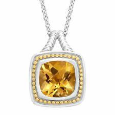 4 Ct Citrine Cushion Pendant in Sterling Silver & 18k Gold