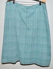 Vtg Lady Devon Green Cream Plaid Tweed Like Pleated Wool Skirt Size 34