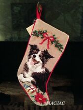 Border Collie Dog Needlepoint Christmas Stocking NWT