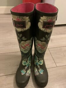 JOULES LADIES  NAVY FLORAL WELLIES SIZE 3