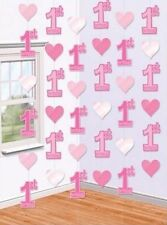 1st Birthday Girl Pink Hanging Number 1 String Party Decorations Pack Of 6