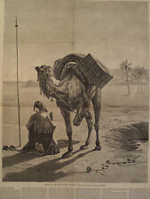 Arab Muslim at Prayer in the Desert Camel 1875 HARPER'S WEEKLY