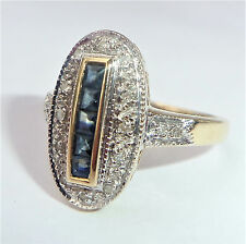 Large Art Deco Style 9ct Gold Sapphire & Diamond Oval Ring, Size O, US 7 1/4