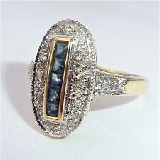 GRANDE Stile Art Deco 9ct Oro Zaffiro & Diamante Anello ovale, dimensioni o, US 7 1/4