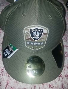 New Era 59FIFTY 2019 7 1/4 NFL RAIDERS Armed Forces Fitted Hat Cap Camo