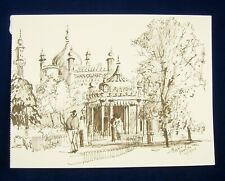 More details for ink sketch of brighton royal pavilion by peter luscombe signed unframed #52