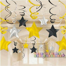 BLACK SILVER GOLD SHOOTING STAR SWIRL DECORATIONS (30) ~ Birthday Party Supplies